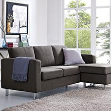 Dorel Living Small Spaces Configurable Sectional Sofa Gray