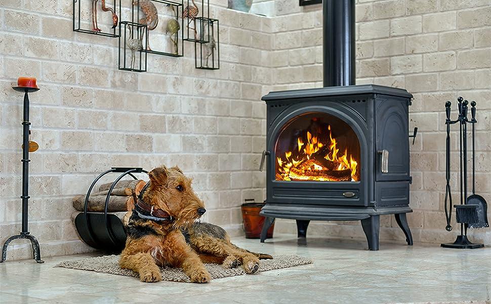 wood stove, dog, fire, fireplace, home, hearth