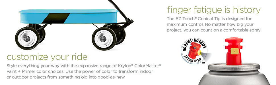 Customize your ride: children's wagon in blue. Finger fatigue is history: EZ Touch Conical spray tip