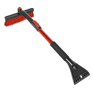 ice scraper winter snow brush extendable handle rotating brush head scratch less soft bristle