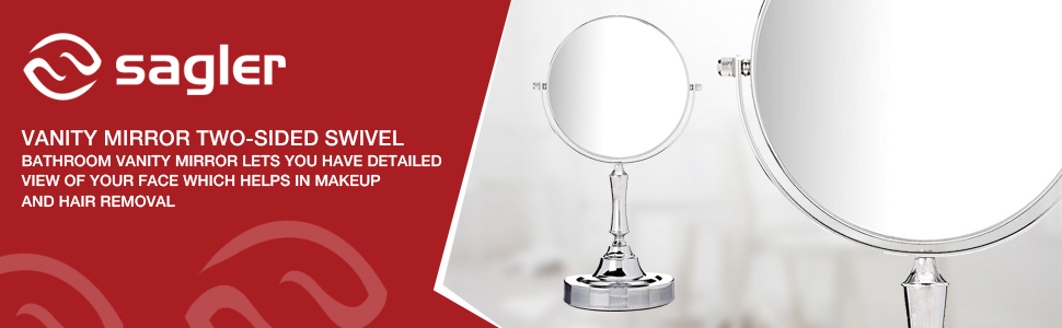 Vanity Mirror Chrome 6-inch Tabletop Two-Sided Swivel