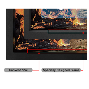 The XL-series LCD frame was specially designed to reduce light reflection from the screen