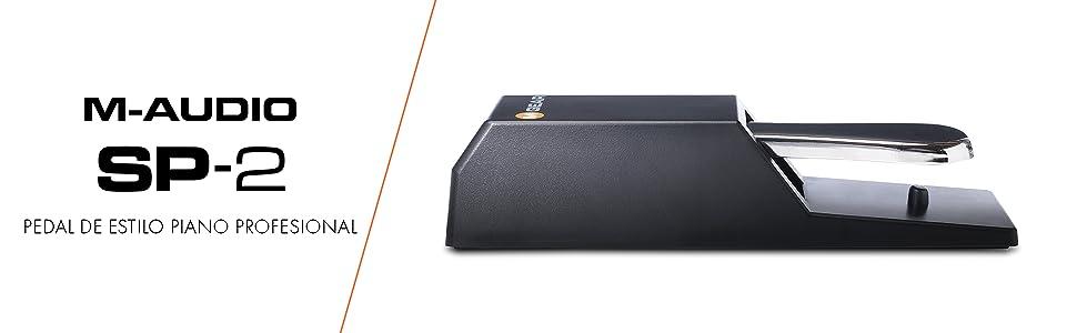 M-Audio SP-2 - Pedal de sostenido universal con tacto de piano para teclados electrónicos, pianos digitales, controladores MIDI, sintetizadores y más