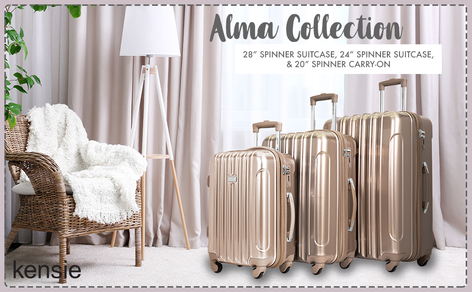 alma collection, 3 piece set, 28 inch, 24 inch, 20 inch, fashion, travel, spinner wheels, luggage