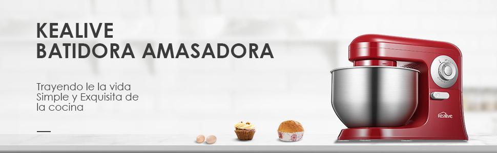 Batidora Amasadora, Robot de cocina multifuncional Kealive 10 Velocidades con tazón de 5L, protector contra salpicaduras de 360°, gancho para masa, látigo de alambre, batidor plano: Amazon.es: Hogar