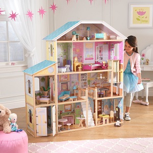 Majestic Mansion Dollhouse, KidKraft Dolls House, Wooden Dollhouse, Girl with Dolls House