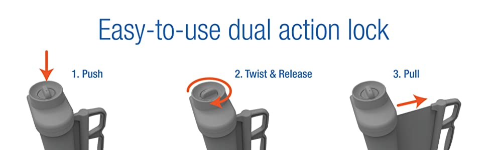 Operation: 1. Push 2. Twist and release 3. Pull