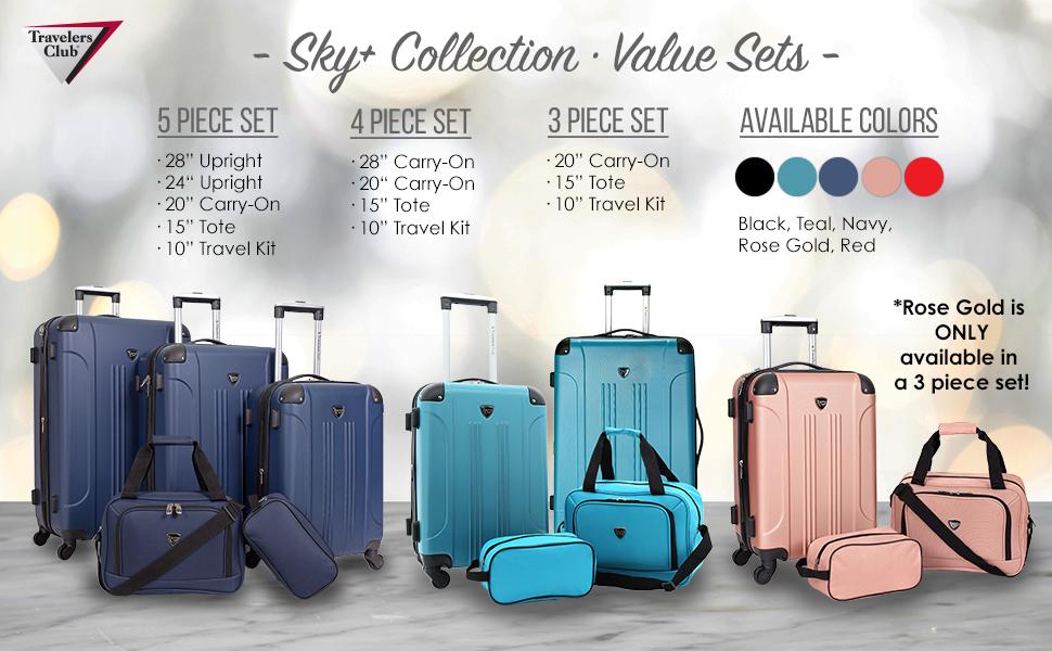 Chicago plus collection, 3 piece, 4 piece, 5 piece, value sets, 5 colors, lightweight, expandable