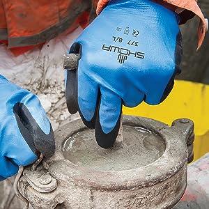 chemical resistant,work gloves,showa,nitrile,latex free,latex