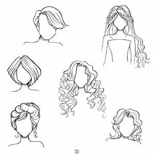 As with facial features, hairstyles can be indicated with just a few simple pencil lines.