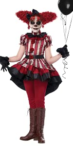 Clown, Horror, It Clown, Jester, Pierrot, Scary, Costume, Gore, Haunted House, Girl's Costume