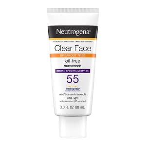 Neutrogena Clear Face Liquid Lotion Facial Sunscreen for acne-prone skin with Broad Spectrum SPF 55
