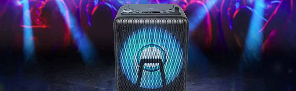 Muse Bluetooth Party Speaker With Battery Cd Player And Light Effects Usb Aux Black Black Mp3 Hifi