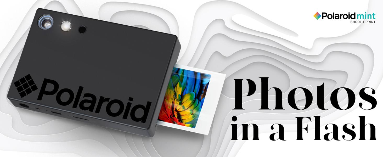 Black Polaroid mint instant photo picture camera