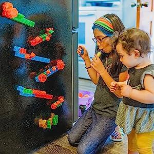 Magna-Qubix magnetic building blocks refrigerator ball run play