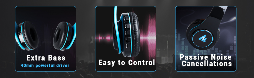 400mm powerful driver extra bass easy to control passive noise cancellations