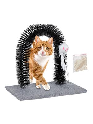Relaxdays Rascador para Gatos, Arco Quita Pelos, Masajeador, Ratón ...