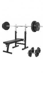 lijingaa Banc De Musculation R/églable,avec Squat Rack Pliable Accueil Banc De Presse,Multi-Fonction Professionnel Tabouret Halt/ère,Tabouret Barbell