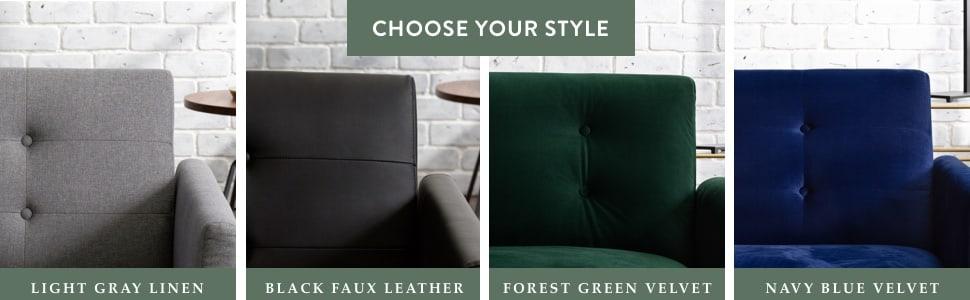 multiple color options light gray linen futon black faux leather futon green velvet futon blue