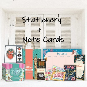 note cards;notecards;desk pad calendar;stickers;pens;gift bags;grocery lists;note pads