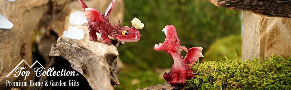 mini fairy garden fantasy red dragons