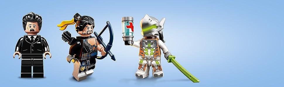LEGO - Overwatch Hanzo vs. Genji Set de construcción del Dojo Hanamura Basado en el Videojuego, incluye Dos Hermanos del Dragón, Novedad 2019 (75971)