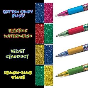 colors, krazy, sparkle, milky, pop, pentel, pen