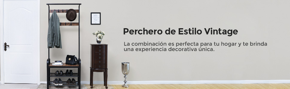 VASAGLE Perchero con Zapatero, Espacio de Almacenaje, Ganchos Movibles, Metal, Estilo Retro 72 x 33,7 x 183 cm (Largo x Ancho x Alto) Mate Negro ...