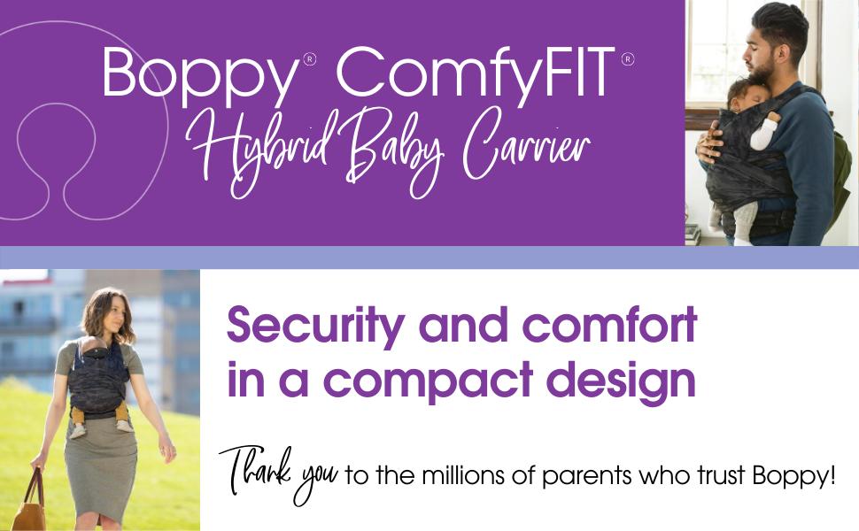 baby carrier, Boppy, comfyfit hybrid baby carrier, comfy fit, comfortable baby carrier, baby wrap