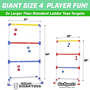 gosports jumbo game ladder toss hillbilly golf ladderball lawn yard outdoor game kids adult portable