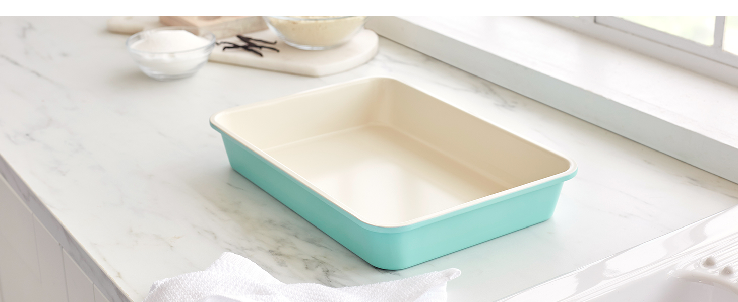 GreenLife heavy-duty steel, nonstick bakeware, easy, tough, PFAS, easy to clean, rectangle cake pan
