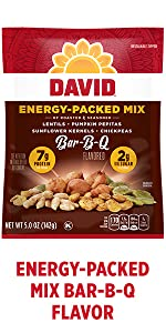 DAVIDs BBQ energy boosting snacks flavored sunflower seeds
