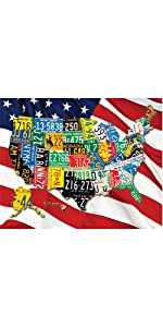 united states of america map jigsaw puzzle, usa puzzle, license plate puzzle, American flag puzzle