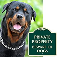 Beware of Dog Security Sign, Guard/Attack Dogs, No Trespassing, Private Property