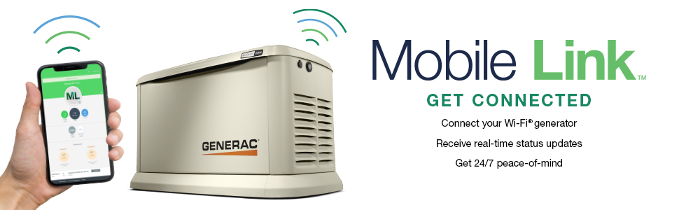 Mobile Link, get connected, wi-fi, peace of mind, status updates, Generac, HSB, home standby