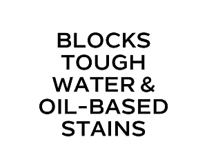 Blocks tough water & oil-based stains
