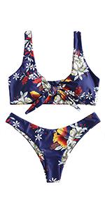 front tie floral bikini