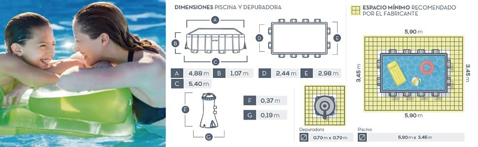 INTEX 26792NP Piscina sobresuelo rectangular Prisma Frame + ...