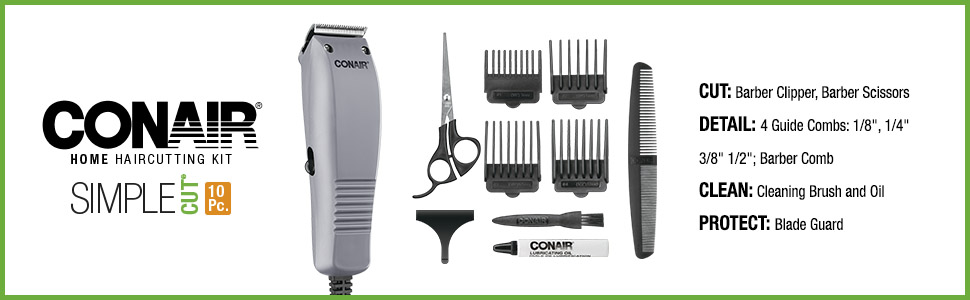 Conair Home haircutting kit, simple cut 10 pieces, barber clipper, barber scissors, haircutting kit