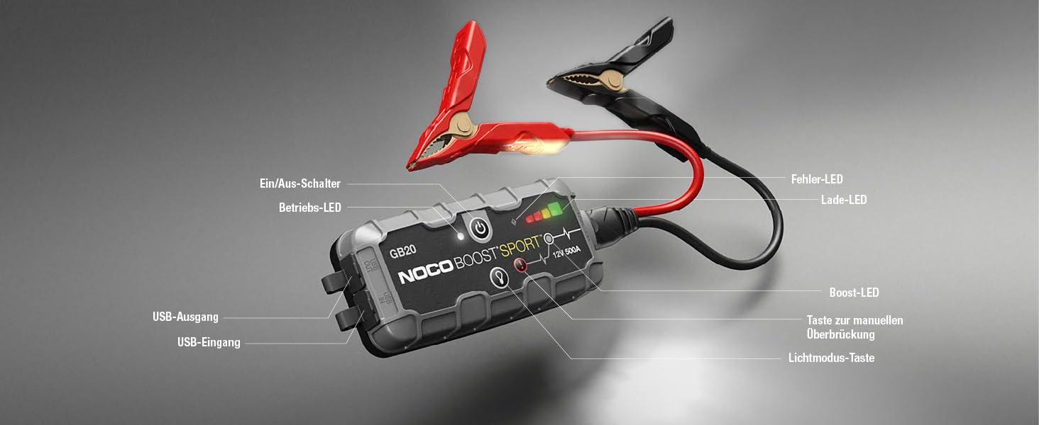 Noco Boost Sport Gb20 500a 12v Ultrasafe Starthilfe Powerbank Tragbare Auto Batterie Booster Starthilfekabel Und Überbrückungskabel Für Bis Zu 4 Liter Benzinmotoren Auto
