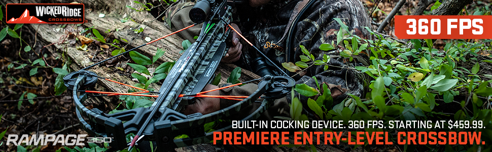 Hunter aiming and shooting Wicked Ridge Rampage 360 crossbow.