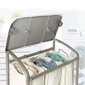 laundry hamper folding table sorter organizer rolling portable ironing board table wash center