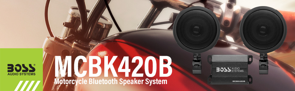 Boss Audio Systems MCBK420B Motorcycle Bluetooth Speaker System - Class D Compact Amplifier, 3 Inch Weatherproof Speakers, Volume Control, Great for ...