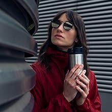 Sigg gemstone thermo drinkfles, koffiebeker, thee, kopje, warme drank om mee te nemen, roestvrij staal