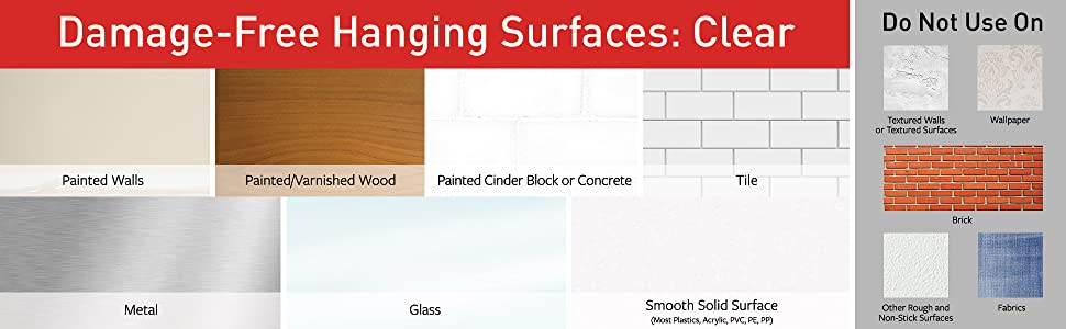 Damage-Free Hanging for Clear Surfaces: Painted walls, painted/varnished wood, tile, metal, glass
