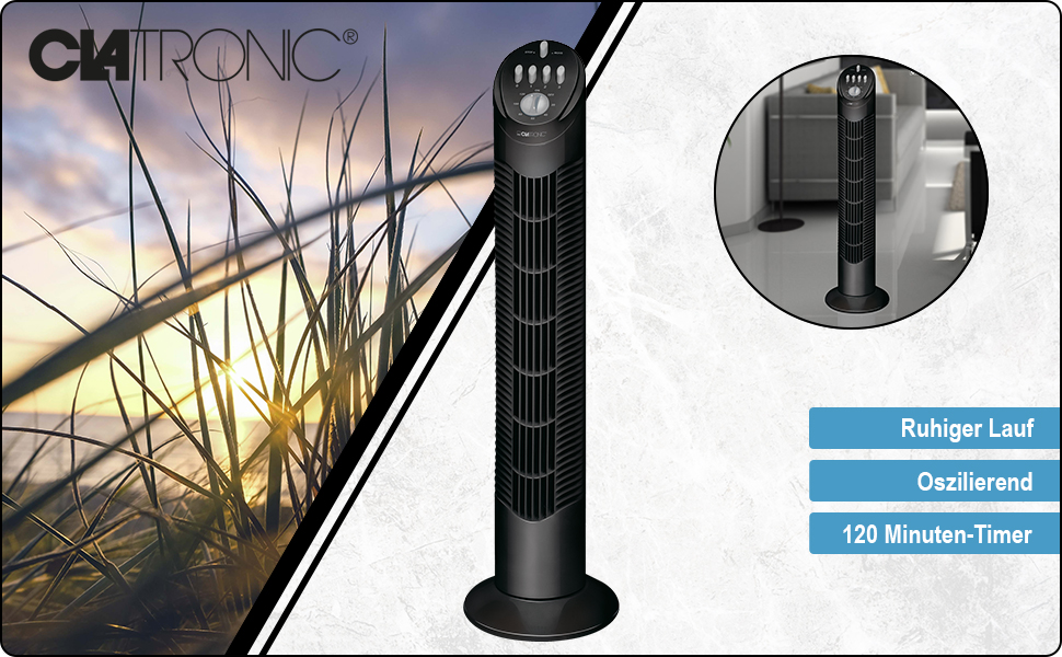 T-VL 3546 tafelventilator Clatronic wit zwart timer oscillerend rustig stil