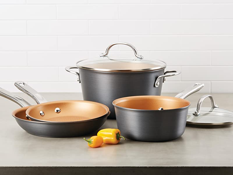 cookware, pots and pans, hard anodized pans, nonstick pans