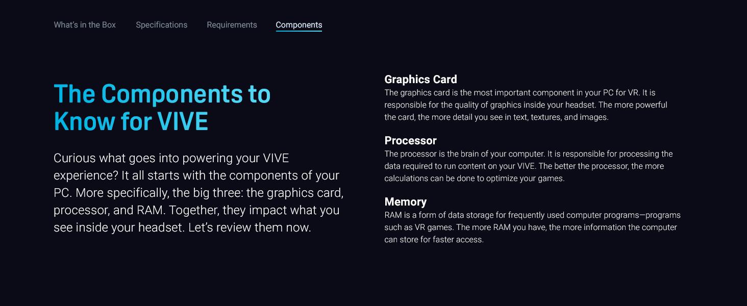 VIVE, VR, VIVE Pro, Starter Kit, Components, GPU, Processor, Memory, Graphics Card
