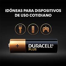 Las pilas Duracell Plus son unas pilas alcalinas multiuso idóneas para dispositivos de uso cotidia