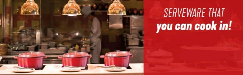heiss, le creuset, cast iron, get, g.e.t. enterprise, restaurant, kitchen, light weight, cooking pan
